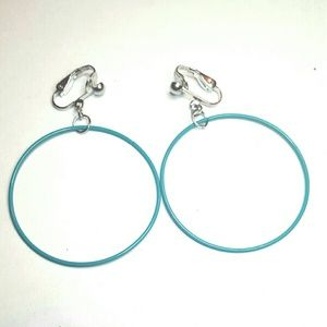 "1.75"" Silver Plated Turquoise ClipOn Hoop Earrings"
